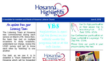 Hosanna Newsletter June 9, 2016